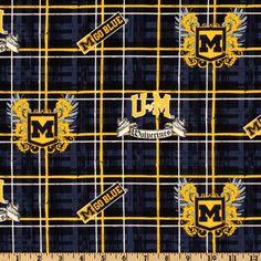 Collegiate Cotton Broadcloth University of Michigan Plaid Blue