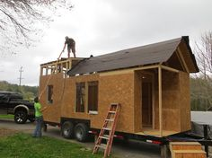 How to build a tiny house, I like the larger roof on one end. Makes a bigger master bedroom.