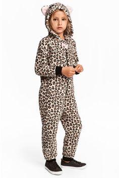 Heldragt i fleece - Leopardmønstret - Kids   H&M DK