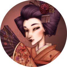 Stickers - Kylheis - Badge Femme au Kimono