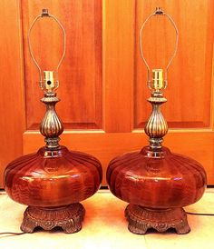 Mid Century Amber Glass LampHollywood Regency Vintage Retro Mod