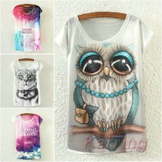 2015 New Fashion Vintage Spring Summer T Shirt Women Clothing Tops Blouse Animal Owl Print T-shirt Printed White Woman Clothes