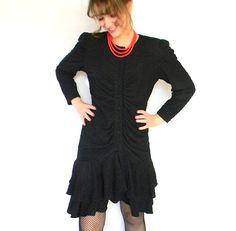 70s Crinkle Dress. Little Black Dress. Vintage by ChickClassique, $52.00