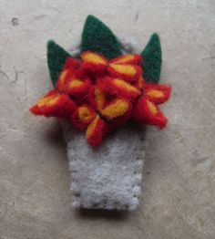 Felt Flower Pot Brooch made in a Vintage, 1940s, 'Make Do and Mend' Style // Red and Yellow Flowers