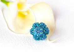 Turquoise Swarovski flower pendant silver by EssenceInLife on Etsy