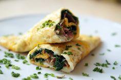 Omelett mit Spinat & Schinken Füllung