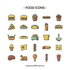 Colored food icons Vector | Free Download