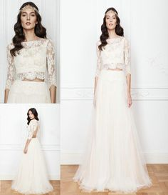 c0f13d5611 Discount 2016 Two Pieces Wedding Dresses Illusion A Line Bridal Gowns Lima  Lace Crop Top Long Sleeves Bateau Neck Backless Floor Length Tulle Skirts A  Line ...