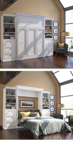 Turn your home office into a guest room with a hide-away Murphy bed. The bed stows against the wall in its custom frame when not in use, and when company comes you simply pop it open and it's ready for guests! The side storage is perfect for bedside reading and the clean décor will fit with your home office, without sacrificing any precious space.: