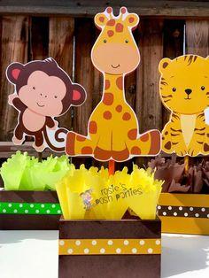 Jungle Baby Shower Theme Centerpiece Baby Shower Party Decoration Baby Shower Jungle First Birthday Giraffe Elephant Monkey Safari SET OF 5 Baby Girl Shower Themes, Girl Baby Shower Decorations, Baby Boy Shower, Birthday Centerpieces, Baby Shower Centerpieces, Shower Party, Baby Shower Parties, Shower Cake, Shower Favors