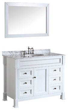 43'' Bosconi SB-278WH Vanity Set traditional + Carrara Marble bathroom-vanities-and-sink-consoles