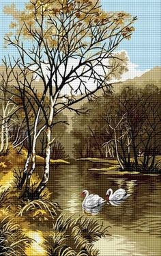 Lebede Cross Stitch Bird, Cross Stitch Charts, Ribbon Embroidery, Cross Stitch Embroidery, Painting Love Couple, Swan Jewelry, Mediums Of Art, Cross Stitch Landscape, Scenery Pictures