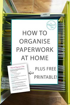 How to Organise Paperwork at Home - having an organised system for your paperwork will prevent paper clutter piles building up in your home. A filing cabinet is a perfect way to organise your paperwork and keep it categorized. Click through to read how I Organizing Paperwork, Clutter Organization, Home Office Organization, Paper Organization, Organizing Tips, Filing Cabinet Organization, Kitchen Organisation, Household Organization, Office Storage