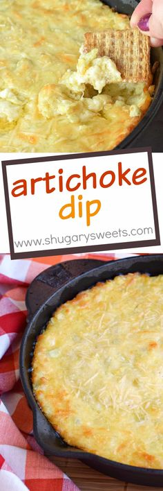 Creamy, warm Artichoke Dip made with garlic, lemon, mozzarella cheese and loads of artichokes! This dip goes fast, so be sure to scoop yourself some before it's gone!