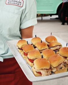 From Katie Evans' Wedding: Crab Cake sliders were served during cocktail hour from Curbside Gourmet