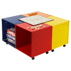 Our Enameled QBO® Steel Cube Kid's Game Table provides mobility and flexibility for storing games, puzzles, books, DVDs, CDs and other playtime necessities.