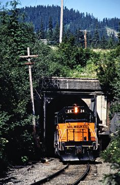 MILW, Hyak, Washington, 1979 Eastbound Milwaukee Road freight train at Snoqualmie Tunnel in Hyak, Washington, on July 18, 1979. Photograph by John F. Bjorklund, © 2016, Center for Railroad Photography and Art. Bjorklund-68-16-13