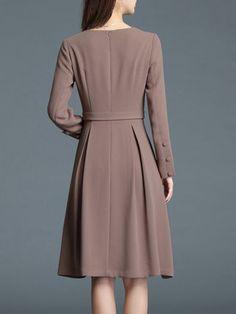 Khaki Plain Elegant Folds A-line Midi Dress
