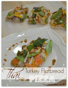 Thai Turkey Flatbread Pizza slices plated