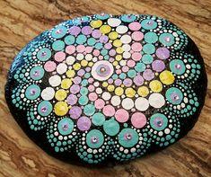 dot painted with acrylic on river rock, Swarovski Crystals, clear coat sealed Mandala Painting, Dot Painting, Painted Rocks, Hand Painted, Meditation Altar, Best Canvas, Mandala Dots, Pattern Art, Art Patterns