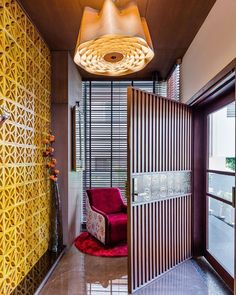 Image may contain: indoor Wooden Front Door Design, Main Entrance Door Design, Home Entrance Decor, Entrance Doors, Wooden Doors, Foyer Design, House Design, Altar Design, Facade Design