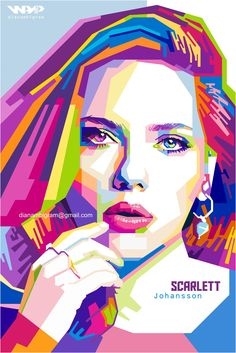Potrait Drawing Scarlett Johansson in WPAP style. WPAP is original popart from Indonesia. The founder was Wedha Abul Rasyid. Pop Art Portraits, Portrait Art, Potrait Painting, Contour Drawing, Polygon Art, Art Anime, Abstract Faces, Portrait Illustration, Face Art