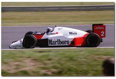 Alain Prost McLaren Tag MP4/2B F1. 1985 British GP Silverstone.
