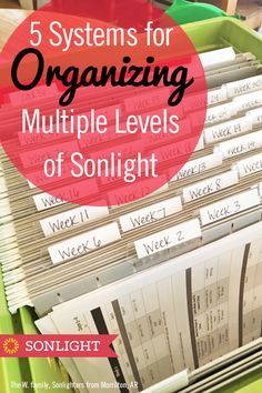 5 Systems for Organizing Multiple Levels of Sonlight Homeschool Preschool Curriculum, Preschool At Home, Multiplication For Kids, Student Planner, Parent Resources, Home Schooling, File Folders, Organize, How To Plan