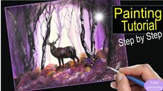 How to paint misty FOREST & DEER. Landscape Tree Painting Tutorial Step...