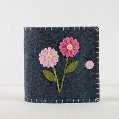Wool Felt Needle Book / Needle Case  Two Pink by TheBlueDaisy