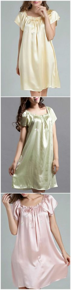 Pure Mulberry Silk Embroidery Nightgown