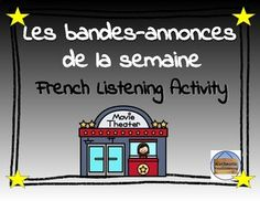 French Distance Learning Activity: Les bandes-annonces de French Basics, Distance, French Movies, Active Listening, Go Online, Movie Trailers, Comprehension, Learning Activities, Classroom