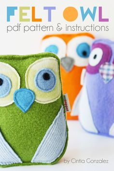 These cuddly owls make cheerful companions. They are ideal gifts for babies and toddlers as they have no buttons, small parts or adornments.  Make a whole Parliament of Owls in a rainbow of colours with up-cycled blankets or knitwear.