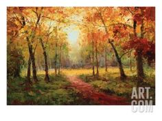 A Beautiful Walk in the Fall Premium Giclee Print by Weber at Art.com
