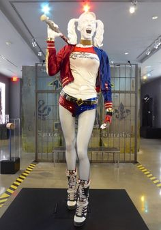 Hollywood Movie Costumes and Props: Margot Robbie's Harley Quinn costume from Suicide Squad on display... Original film costumes and props on display