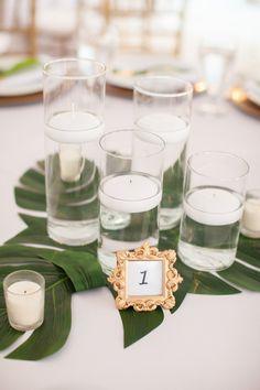 Tropical candle centerpiece    #wedding #weddingideas #weddings #aislesociety #eventdesign #beachweddings
