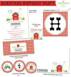 Farm Barnyard Birthday Party  PRINTABLE only by greenapplepaperie, $25.00