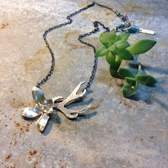 Antler and succulents necklace by M* Jewelry