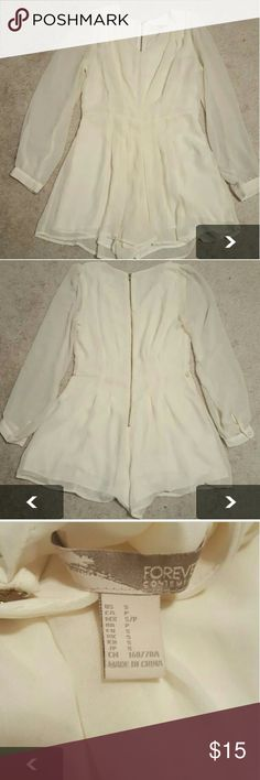 Forever 21 Romper Size small Forever 21 Ivory flowy romper. Sheer sleeves and sheer overlay with lining under. Has 2 tiny loops for a belt but does come with one/did not have one when purchased. Picture of black romper is to illustrate fit. Forever 21 Other