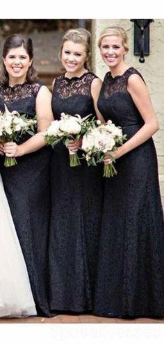 Black Lace Illusion Mermaid Cheap Long Cheap Bridesmaid Dresses Online, WG628#bridesmaids #bridesmaiddress #bridesmaiddresses #dressesformaidofhonor #weddingparty #2020bridesmaiddresses