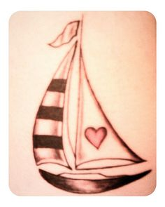 Sailboat with heart sail tattoo. Adorable!