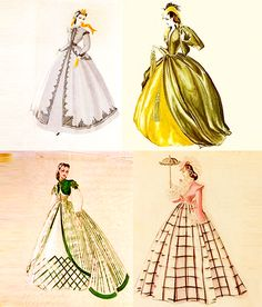 Gone With The Wind costume sketches.  Costumes designed by Walter Plunkett (1902-1982).