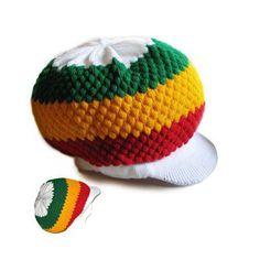 Rasta Roots Hat Berret Cap Crown Reggae Marley Jamaica Irie Rastafari L to XL Fit
