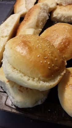 Homemade Hamburger Buns (Bread Machine) Recipe - You will never want to buy hamburger buns again after trying this recipe. Easy to do using a bread machine and so awesome! You can also top rolls with sesame seeds after brushing with melted butter.