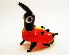 Blown Glass Ladybug Miniature, ladybird Sculpture, Figurine, Flamework Murano