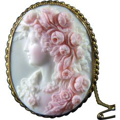 Victorian cameo carved in pink conch shell and depicting goddess Flora
