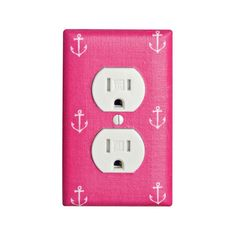 Raspberry Hot Pink Anchor Outlet Cover / Girls by SSKDesigns