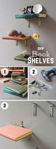 Check out how to make easy DIY Vintage Book Shelves for bedroom decor @istandarddesign