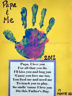 Since my son made a Daddy and Me footprint craft for Father's Day, I made a handprint one with his little sister. I just adore all the Daddy & Me Cute Crafts, Crafts To Do, Crafts For Kids, Baby Crafts, Holiday Crafts, Holiday Fun, Daddy Day, Footprint Crafts, Handprint Art