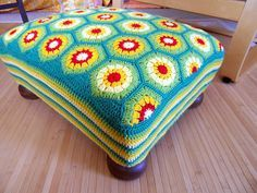 One of the coolest things ever - Hexagon Footstool cover by DanielaH on Ravelry